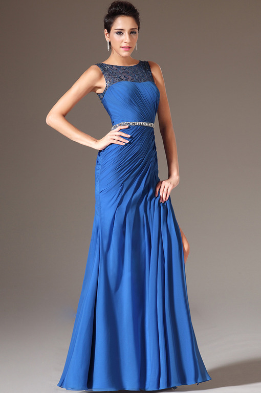 Синее платье в пол фото